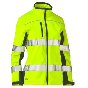 Bisley BJL6059T WOMENS TAPED TWO TONE HI VIS SOFT SHELL JACKET