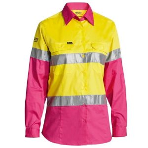 Bisley BL6696T Women's Taped Hi Vis Cool Lightweight L/S Drill Shirt