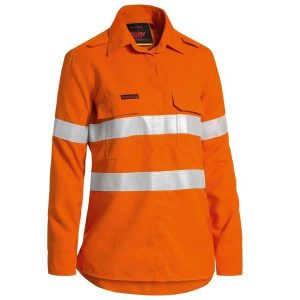 Bisley BL8097T WOMEN'S TENCATE TECASAFE® PLUS 580 TAPED HI VIS LIGHTWEIGHT FR VENTED LONG SLEEVE SHIRT