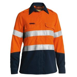 Bisley BL8098T WOMEN'S TENCATE TECASAFE® PLUS 580 TAPED TWO TONE HI VIS LIGHTWEIGHT FR VENTED LONG SLEEVE SHIRT