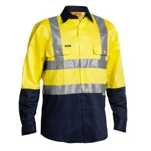 Bisley BS6267T 2 TONE HI VIS DRILL SHIRT 3M REFLECTIVE TAPE - LONG SLEEVE