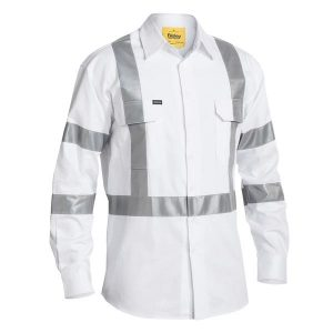 Bisley BS6807T 3M TAPED WHITE DRILL SHIRT