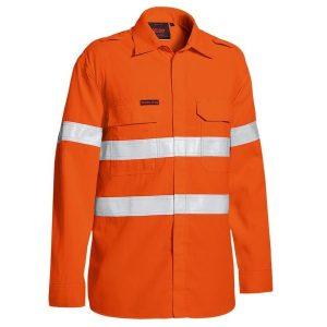 Bisley BS8238T TenCate Tecasafe® Plus 480 Taped Hi Vis Lightweight FR Vented Long Sleeve Shirt