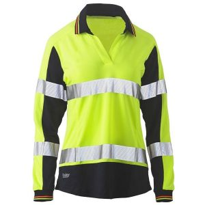 Bisley BKL6225T WOMENS LONG SLEEVE TAPED TWO TONE HI VIS V-NECK POLO
