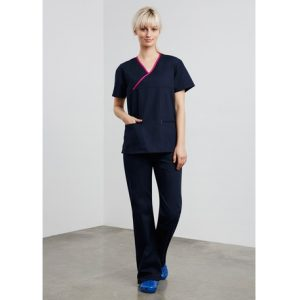 Biz Collection H10722 LADIES CONTRAST CROSSOVER SCRUBS TOP