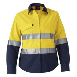 KING GEE K44544 WOMENS HI VIS WORK COOL 2 REFLECTIVE SHIRT
