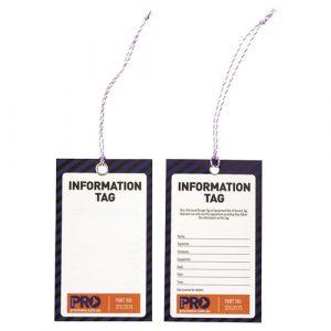 PRO CHOICE STI12575 SAFETY TAG -125MM X 75MM INFORMATION (BLANK) 100 PACK