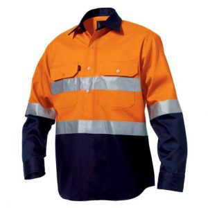 KingGee K54325 Closed Front Reflective Spliced Drill Shirt L/S