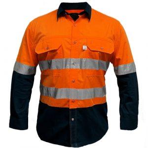 Ritemate RMPCAC03R Men's Australian Cotton Hi Viz Shirt Reflective