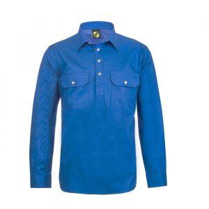 Workcraft WS3029 Lightweight Long Sleeve Half Placket Cotton Drill Shir
