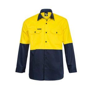 Workcraft WS3022 Hi Vis Two Tone Long Sleeve Cotton Drill Shirt