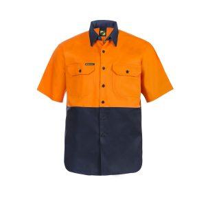 Workcraft WS3023 Hi Vis Two Tone Short Sleeve Cotton Drill Shirt
