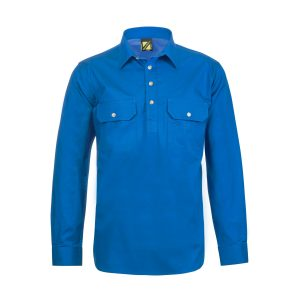 Workcraft WS3029 Lightweight Long Sleeve Half Placket Cotton Drill Shirt with Contract Buttons