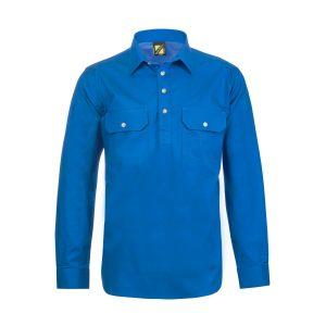Workcraft WS3029 Lightweight L/S Half Placket Cotton Drill Shirt