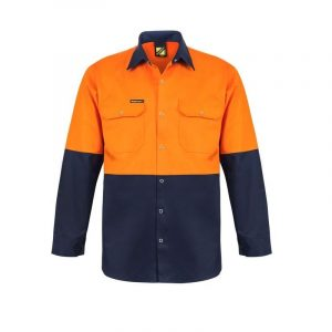 Workcraft WS3032 Hi Vis Two Tone Long Sleeve Cotton Drill Shirt with Press Studs
