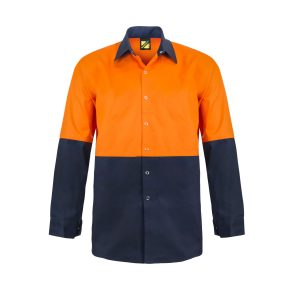 Workcraft WS3035 Hi Vis Two Tone Long Sleeve Cotton Drill Food Industry Shirt with Press Studs and No Pockets