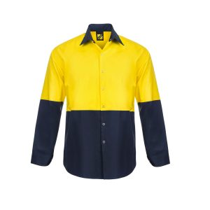 Workcraft WS3045 Lightweight Hi Vis Two Tone Long Sleeve Vented Cotton Drill Food Industry Shirt with Press Studs and No Pockets