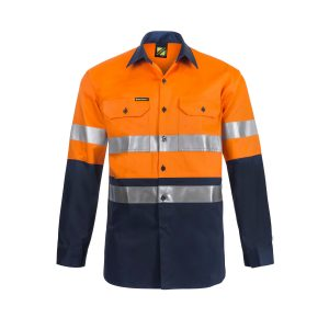 Workcraft WS4000 Hi Vis Two Tone Long Sleeve Cotton Drill Shirt with CSR Reflective Tape