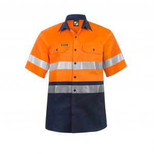 Workcraft WS4001 Hi Vis Two Tone Short Sleeve Cotton Drill Shirt with CSR Reflective Tape