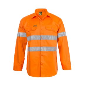 Workcraft WS4002 Hi Vis Long Sleeve Cotton Drill Shirt with CSR Reflective Tape