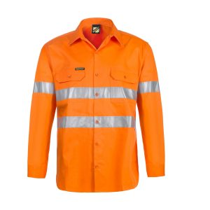 Workcraft WS4131 Lightweight Hi Vis Long Sleeve Vented Cotton Drill Shirt with CSR Reflective Tape