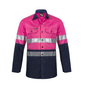 Workcraft WS4132 Lightweight Two Tone Long Sleeve Vented Cotton Drill Shirt with CSR Reflective Tape - Night Use Only