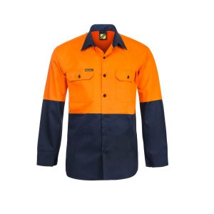Workcraft WS4247 Lightweight Hi Vis Two Tone Long Sleeve Vented Cotton Drill Shirt