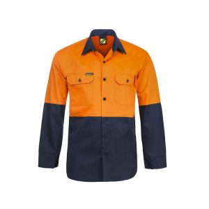Workcraft WS4247 Lightweight Hi Vis Two Tone L/S Vented Cotton Drill Shirt