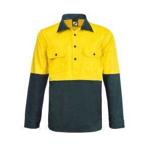 Workcraft WS4255 Lightweight Hi Vis Two Tone Half Placket Vented Cotton Drill Shirt