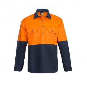 Workcraft WS4256 Hi Vis Two Tone Half Placket Cotton Drill Shirt with Semi Gusset Sleeves