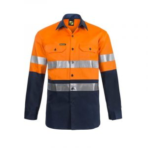 Workcraft WS6030 Lightweight Hi Vis Two Tone Long Sleeve Vented Cotton Drill Shirt with CSR Reflective Tape