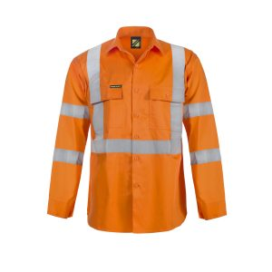 Workcraft WS3222 Hi Vis Long Sleeve Shirt with X Pattern and CSR Reflective Tape
