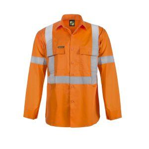 Workcraft WS6010 Lightweight Hi Vis Long Sleeve Vented Cotton Drill Shirt with X Pattern CSR Reflective Tape