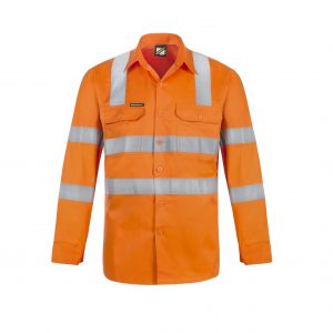 Workcraft WS6011 Lightweight Hi Vis Vented Cotton Drill Shirt with Semi Gusset and Shoulder Pattern CSR Reflective Tape