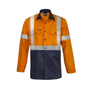 Workcraft WS6020 Hi Vis Two Tone Front Long Sleeve Cotton Drill Shirt with X Pattern CSR Reflective Tape