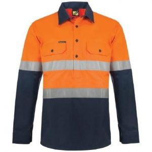 Workcraft WS6031 Heavy Duty Hybrid Two Tone Half Placket Cotton Drill Shirt with Gusset Sleeves and CSR Reflective Tape