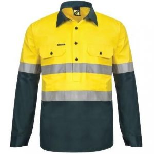 Workcraft WS6032 Lightweight Hi Vis Two Tone Half Placket Vented Cotton Drill Shirt with Semi Gusset Sleeves and CSR Reflective Tape