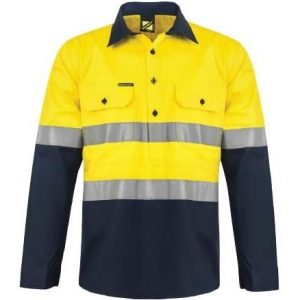 Workcraft WS6033 Hi Vis Two Tone Half Placket Cotton Drill Shirt with Semi Gusset Sleeves with CSR Reflective Tape