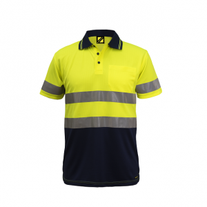 Workcraft WSP410 Hi Vis Two Tone S/S Micromesh Polo with Pocket