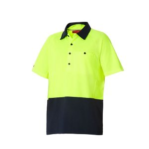 HARD YAKKA Y11396 KOOLGEAR HI-VISIBILITY TWO TONE SHORT SLEEVE VENTILATED POLO