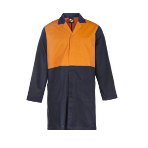 Workcraft WJ047 Hi Vis Two Tone Dustcoat with Patch Pockets- L/S