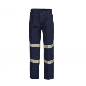 Workcraft WP3045 Classic Pleat Cotton Drill Trouser with Industrial Laundry Reflective Tape