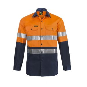 Workcraft WS3028 Hi Vis Two Tone Long Sleeve Cotton Drill Shirt with Industrial Laundry Reflective Tape