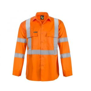 Workcraft WS3222 Hi Vis L/S Shirt with X Pattern Reflective Tape