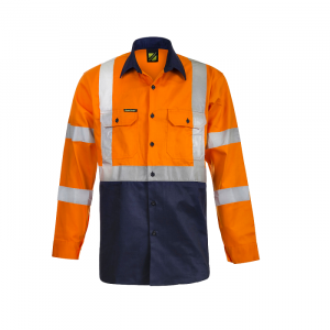 Workcraft WS6020 Hi Vis Two Tone Front L/S Cotton Drill Shirt