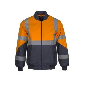 Workcraft WW9003 Hi Vis Two Tone Waterproof Bomber Jacket with X Pattern CSR Reflective Tape