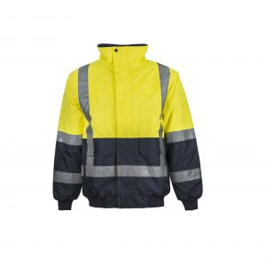 Workcraft WW9004 Hi Vis Two Tone Waterproof Modern Bomber Jacket with H Pattern CSR Reflective Tape