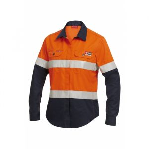 HARD YAKKA Y04050 WOMEN'S SHIELDTEC FR HI-VISIBILITY TWO TONE OPEN FRONT LONG SLEEVE SHIRT WITH FR TAPE