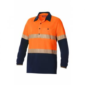 HARD YAKKA Y11379 KOOLGEAR HI-VISIBILITY TWO TONE LONG SLEEVE VENTILATED POLO WITH SEGMENTED TAPE