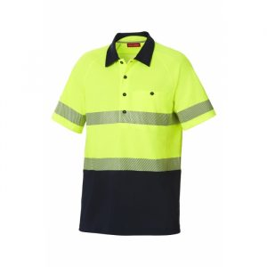 HARD YAKKA Y11383 KOOLGEAR HI-VISIBILITY TWO TONE SHORT SLEEVE VENTILATED POLO WITH SEGMENTED TAPE